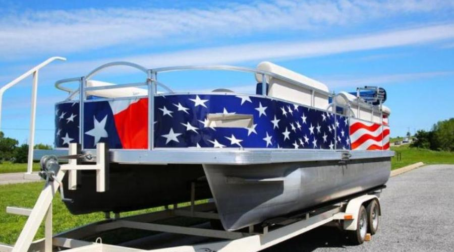 Old Glory Pontoon Boat Wrap